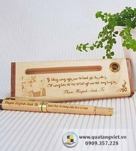 Combo bút gỗ khắc tên